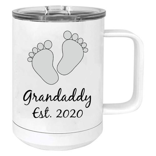 Baby Feet Grandaddy Est. Established 2020 Stainless Steel Vacuum Insulated 15 Oz Travel Coffee Mug with Slider Lid, White