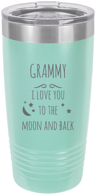 Grammy - I love you to the Moon and Back Stainless Steel Engraved Insulated Tumbler 20 Oz Travel Coffee Mug, Teal
