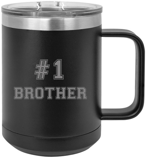 #1 Brother Stainless Steel Vacuum Insulated 15 Oz Travel Coffee Mug with Slider Lid, Black