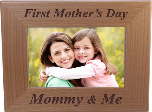 First Mother's Day Mommy & Me - 4x6 Inch Wood Picture Frame - Great Gift for Mothers's Day, Birthday or Christmas Gift for Mom Grandma Wife Grandmother
