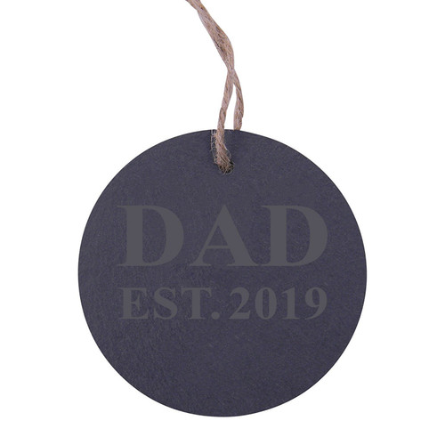 Dad Established 2019 Dad EST. 2019 3.25-inch Circle Slate Hanging Christmas Tree Ornament with String
