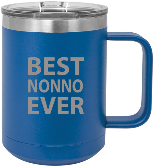 Best Nonno Ever Stainless Steel Vacuum Insulated 15 Oz Travel Coffee Mug with Slider Lid, Blue
