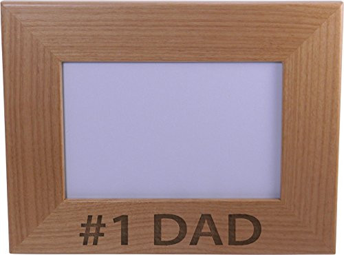 #1 Dad 4x6 Inch Wood Picture Frame - Great Gift for Father's Day Birthday or Christmas Gift for Dad Grandpa Papa Husband