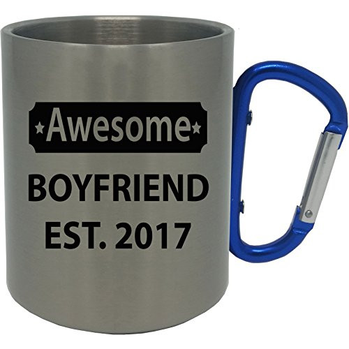 Awesome BoyFriend EST. 2017 Stainless Steel 11 Oz 350ml Coffee Mug with Blue Carabiner Handle Customizable