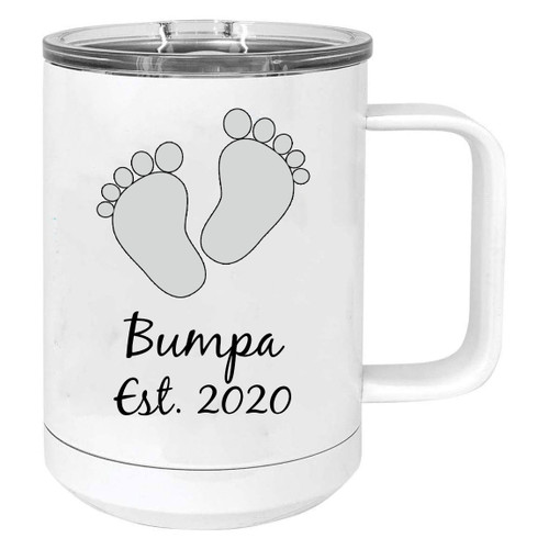 Baby Feet Bumpa Est. Established 2020 Stainless Steel Vacuum Insulated 15 Oz Travel Coffee Mug with Slider Lid, White