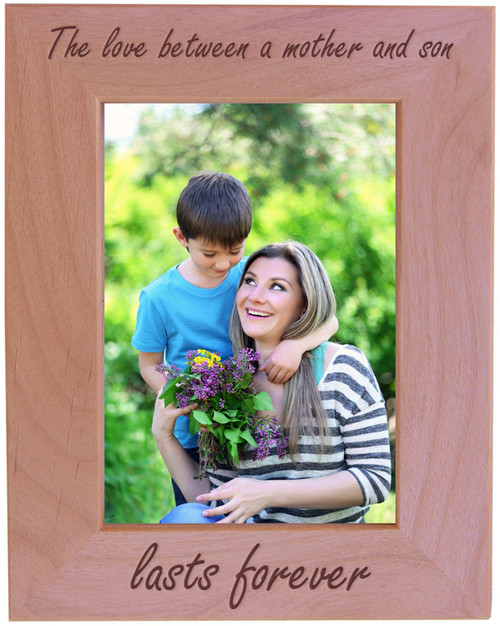 CustomGiftsNow The Love Between a Mother and Son Lasts Forever - Wood Picture Frame - Fits 5x7 Inch Picture (Vertical)