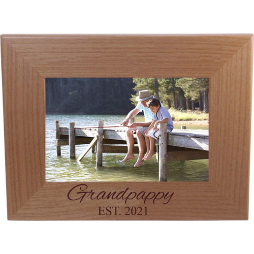 Grandpappy Established Est. 2021 Engraved Alder Wood Picture Frame