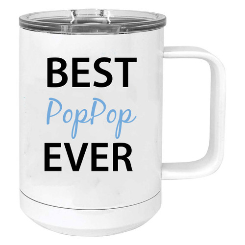 Best PopPop Ever Stainless Steel Vacuum Insulated 15 Oz Travel Coffee Mug with Slider Lid, White