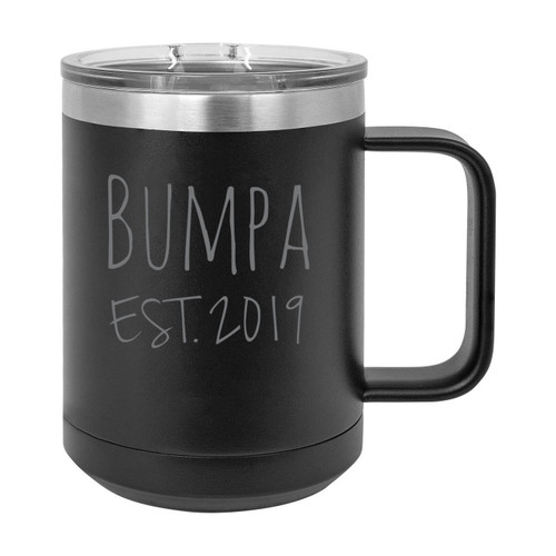 Bumpa Est. 2019 Established Stainless Steel Vacuum Insulated 15 Oz Engraved Double-Walled Travel Coffee Mug with Slider Lid