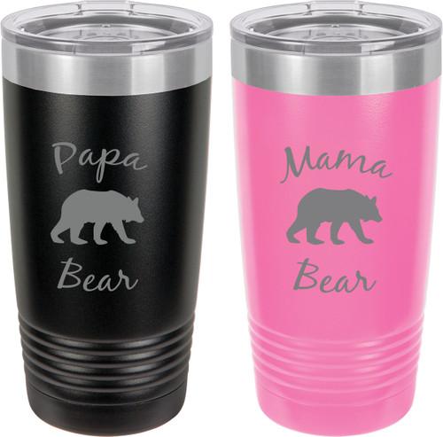 Papa Bear - Mama Bear Stainless Steel Engraved Insulated Tumbler 20 Oz Travel Coffee Mug, Black/Pink