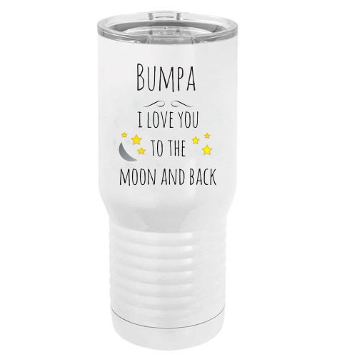 Bumpa - I Love You to the Moon and Back Stainless Steel Vacuum Double-Walled Insulated 20 Oz Tumbler Travel Coffee Mug with Clear Lid, White