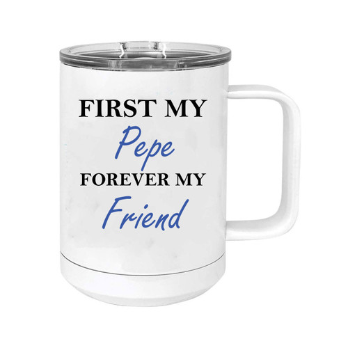 First My Pepe Forever my Friend 15 oz White Stainless Steel Double-Walled Insulated Travel Handle Coffee Mug with Slider Lid