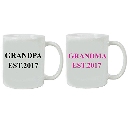 Grandpa + Grandma Established EST. 2017 Ceramic Coffee Mug Set with Gift Boxes - Great Gift for Expecting Grandparents