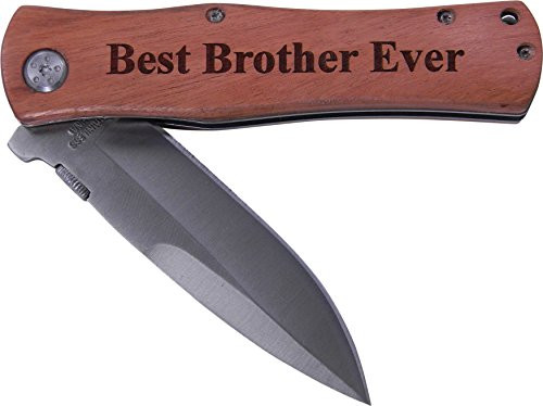 Best Brother Ever Folding Pocket Knife - Great Gift for Birthday, or Christmas Gift for a brother (Wood Handle)