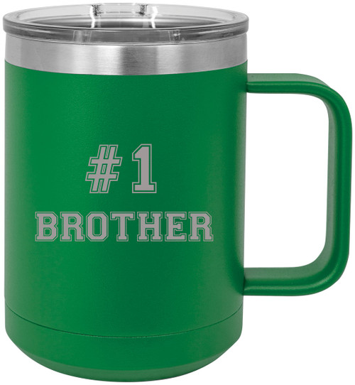 #1 Brother Stainless Steel Vacuum Insulated 15 Oz Travel Coffee Mug with Slider Lid, Green