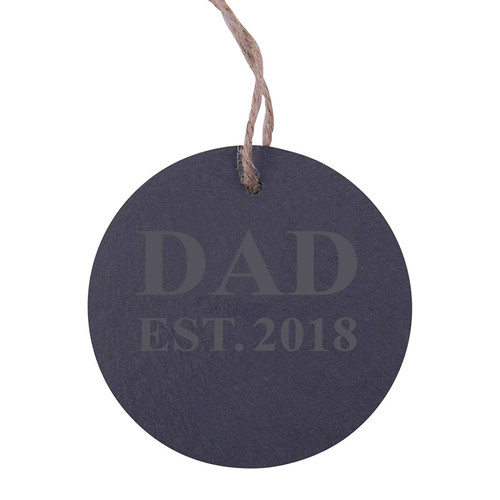 Dad Established 2018 Dad EST. 2018 3.25-inch Circle Slate Hanging Christmas Tree Ornament with String