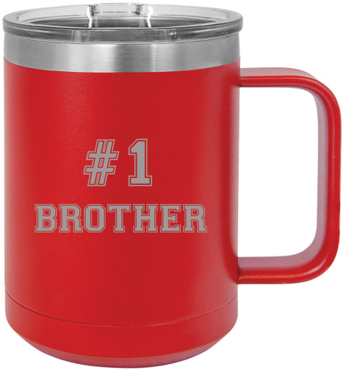 #1 Brother Stainless Steel Vacuum Insulated 15 Oz Travel Coffee Mug with Slider Lid, Red