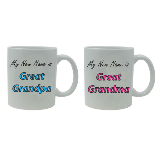My New Name is Great Grandpa and Great Grandma! 11-Ounce White Ceramic Coffee Mugs Set, White/White