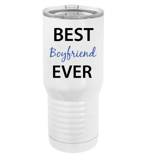 Best Boyfriend Ever Stainless Steel Vacuum Double-Walled Insulated 20 Oz Tumbler Travel Coffee Mug with Clear Lid, White