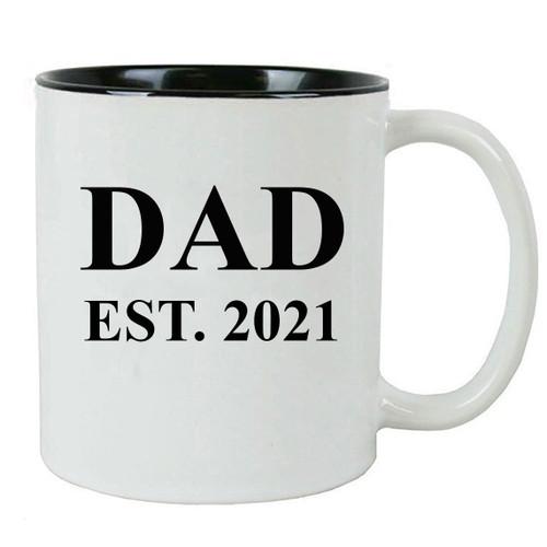 Dad Established Dad EST. 2021 11 Ounce Ceramic Coffee Mug with C-Handle, Black - By CustomGiftsNow