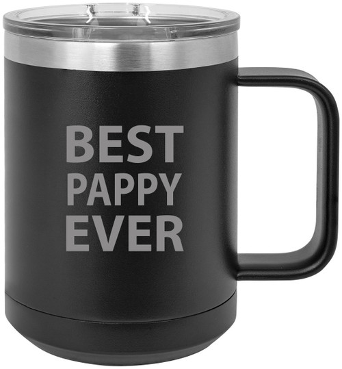 Best Pappy Ever Stainless Steel Vacuum Insulated 15 Oz Travel Coffee Mug with Slider Lid, Black
