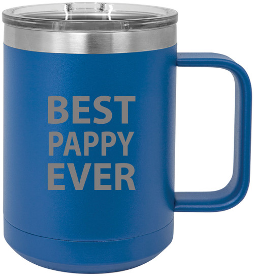 Best Pappy Ever Stainless Steel Vacuum Insulated 15 Oz Travel Coffee Mug with Slider Lid, Blue