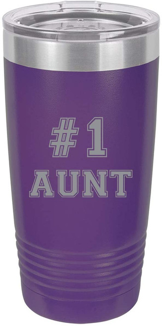 #1 Aunt Stainless Steel Engraved Insulated Tumbler 20 Oz Travel Coffee Mug, Purple