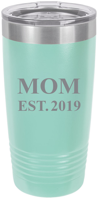 Mom Established EST. 2019 Stainless Steel Engraved Insulated Tumbler 20 Oz Travel Coffee Mug, Teal