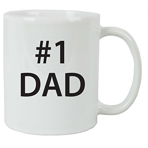 #1 Dad 11 oz White Ceramic Coffee Mug with Gift Box - Great Gift for Father's Day, Birthday, or Christmas Gift for Dad, Grandpa, Grandfather, Papa, Husband