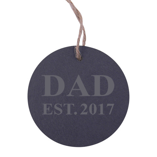 Dad Established 2017 Dad EST. 2017 3.25-inch Circle Slate Hanging Christmas Tree Ornament with String