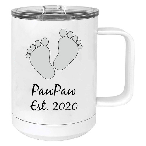 Baby Feet PawPaw Est. Established 2020 Stainless Steel Vacuum Insulated 15 Oz Travel Coffee Mug with Slider Lid, White