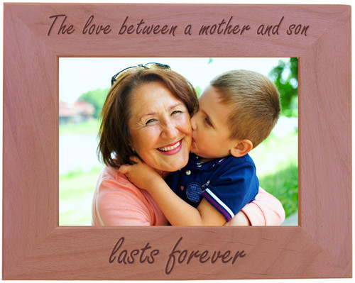 CustomGiftsNow The Love Between a Mother and Son Lasts Forever - Wood Picture Frame - Fits 5x7 Inch Picture (Horizontal)