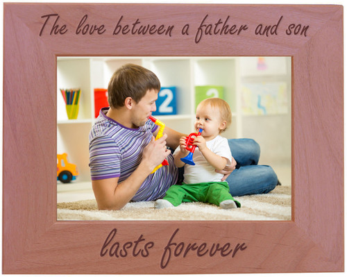 CustomGiftsNow The Love Between A Father And Son Lasts Forever - Wood Picture Frame - Fits 5x7 Inch Picture (Horizontal)