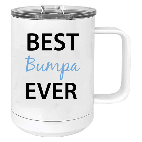 Best Bumpa Ever Stainless Steel Vacuum Insulated 15 Oz Travel Coffee Mug with Slider Lid, White