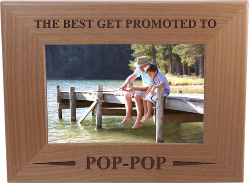 Only The Best Get Promoted PopPop - 4x6 Inch Wood Picture Frame - Great Gift for Father's Day, Birthday, or Christmas Gift for Dad, Grandpa, Grandfather, Papa, Husband