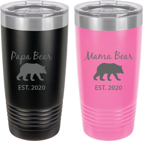 Papa Bear Est. 2020 - Mama Bear Est. 2020 Stainless Steel Engraved Insulated Tumbler 20 Oz Travel Coffee Mug, Black/Pink