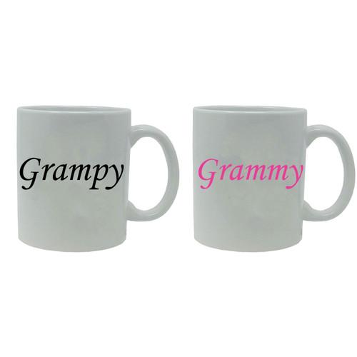 Grammy and Grampy 11-ounce White Ceramic Coffee Mugs Set, White/White