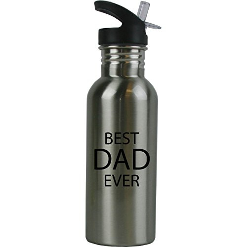 Best Dad Ever Stainless Steel Silver Water Bottle - Great Gift for Father's Day, Birthday, or Christmas Gift for Dad, Grandpa, Papa, Husband