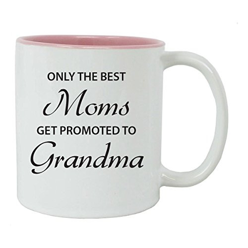 Only the Best Moms Get Promoted to Grandma 11 oz White Ceramic Coffee Mug (Pink) with Gift Box