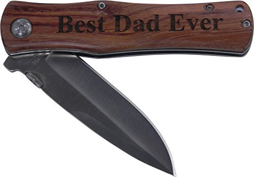 Best Dad Ever Folding Pocket Knife - Great Gift for Father's Day, Birthday, or Christmas Gift for Dad, Grandpa, Grandfather, Papa, Husband (Wood Handle)