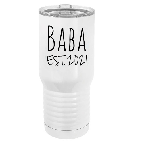 Baba Est. 2021 Established Stainless Steel Vacuum Double-Walled Insulated 20 Oz Tumbler Travel Coffee Mug with Clear Lid, White