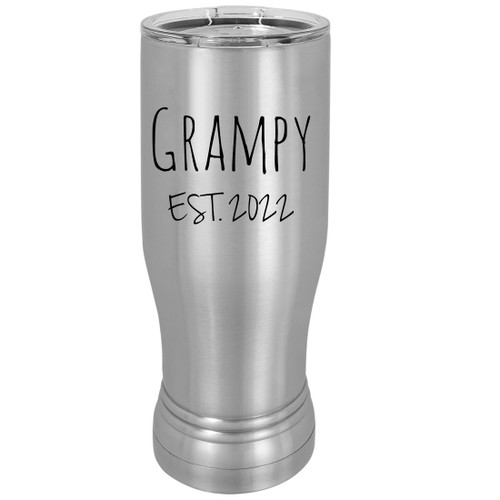 Grampy Est. 2022 Established 20 oz Silver Stainless Steel Double-Walled Insulated Pilsner Beer Coffee Mug with Clear Lid
