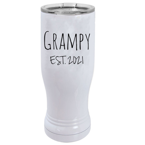 Grampy Est. 2021 Established 20 oz White Stainless Steel Double-Walled Insulated Pilsner Beer Coffee Mug with Clear Lid