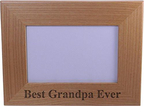 Best Grandpa Ever Engraved Wood Picture Frame - Holds 4-inch x 6-inch Photo - Great Gift for Father's Day, Birthday, or Christmas Gift