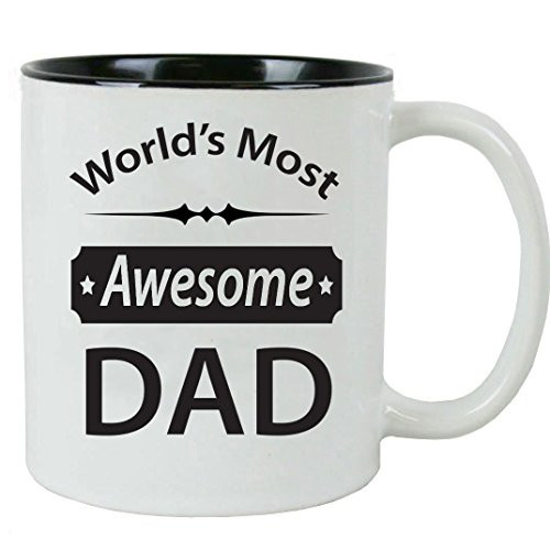World's Most Awesome Dad - 11 oz Ceramic Coffee Mug - Great Gift for Father's Day, Birthday, Christmas for Dad, Grandpa - By CustomGiftsNow (1)