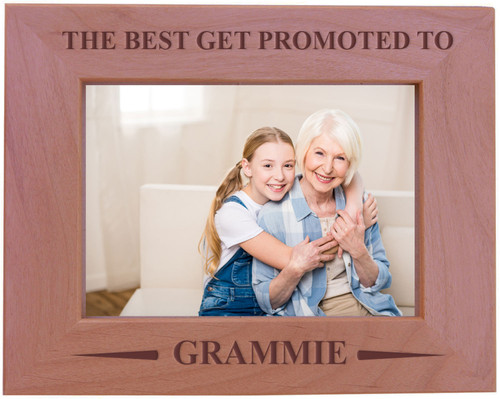 CustomGiftsNow The Best Get Promoted To Grammie - Wood Picture Frame - Fits 5x7 Inch Picture (Horizontal)