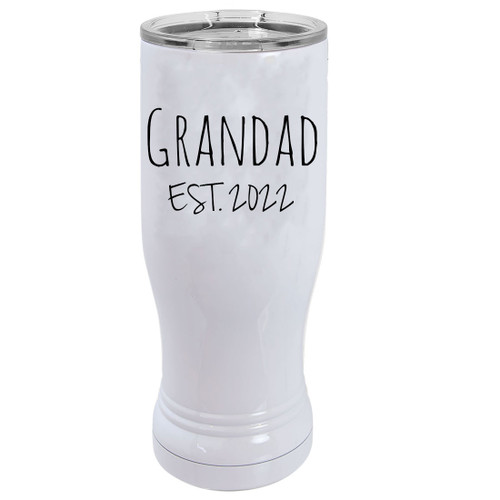 Grandad Est. 2022 Established 14 oz White Stainless Steel Double-Walled Insulated Pilsner Beer Coffee Mug with Clear Lid