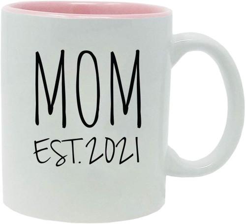 Mom Established Est. 2021 11-Ounce Ceramic Coffee Mug with Gift Box