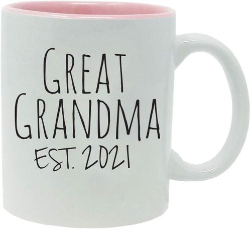 Great Grandma Established Est. 2021 11-Ounce Ceramic Coffee Mug with Gift Box