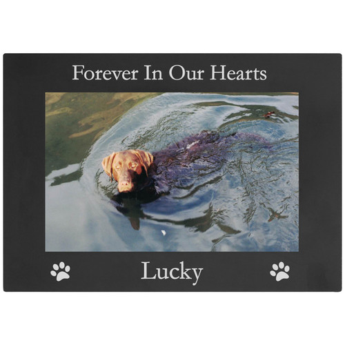 Forever in Our Hearts - Custom Dog - Engraved Anodized Aluminum Hanging/Tabletop Personalized Memorial Photo Picture Frame - Add Your Dogs Name